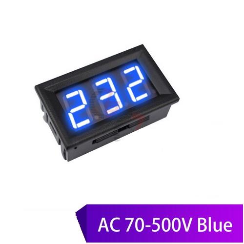 Inbouw AC Voltmeter vanaf 70V tot 500V / Blauw LED / eenvoudig aan te sluiten