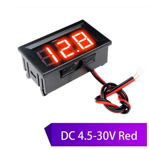 Inbouw voltmeter 4.5 tot 30V / Rood LED / eenvoudig aan te sluiten