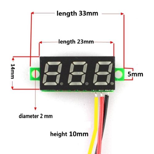 Mini digitale voltmeter tester DC 0-100V, Blauw, Rood of Groen