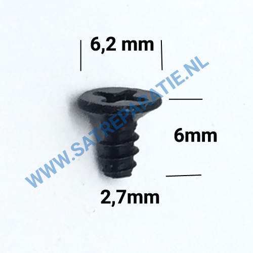2,7mm zwart schroeven plat, zakje van 10 stuks