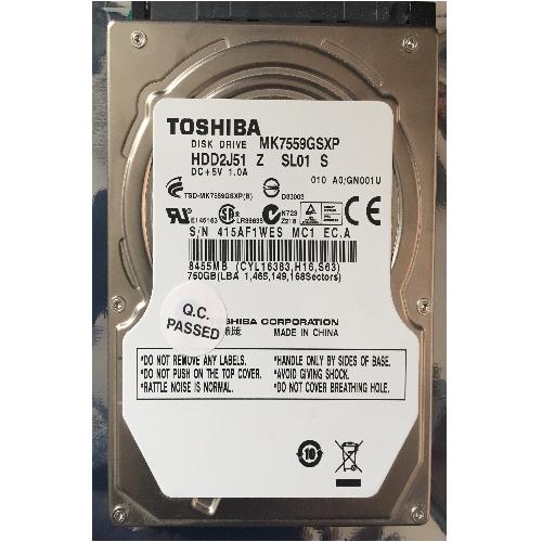 Gebruikte Toshiba 750GB 2.5 inch SATA